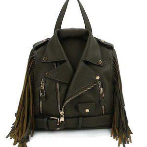 Leatherette Biker Jacket Handbag / Backpack, Olive
